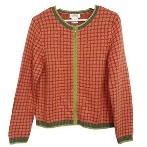 Talbots Orange Knit Zip Up Sweater Jacket Size M